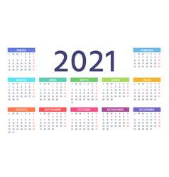 2021 spanish calendar color template year planner vector