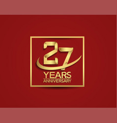 27 years anniversary with square and swoosh vector