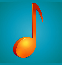 3d bright orange music note icon vector image