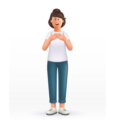 3d cartoon character young woman keeps hands vector