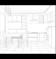 abstract sketch design interior kitchen vector image