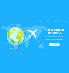 Airplane fly around earth globe concept vector