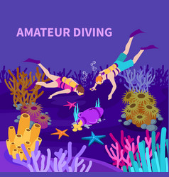 amateur diving isometric composition vector image