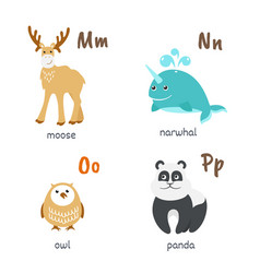 Animal alphabet with moose narwhal owl panda vector