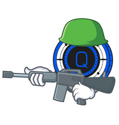 Army qash coin character cartoon vector