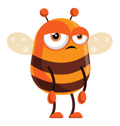 Bee is bored on white background vector