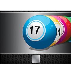 Bingo Balls on metallic panel and button vector