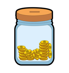 Bottle with coins icon vector