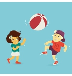 Boy and Girl Playing Ball vector