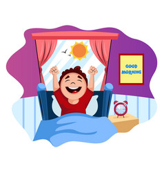 Boy woke up happy on white background vector