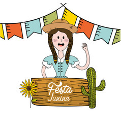 Brazilian woman celebrating festa junina vector