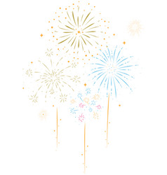 bursting fireworks with stars and sparks vector image