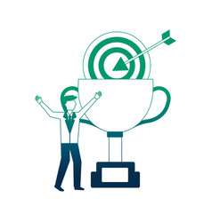 businessman celebrating trophy and target business vector image