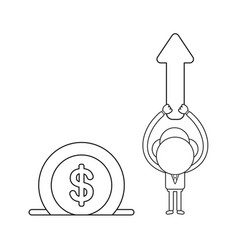 businessman character holding up arrow moving up vector image