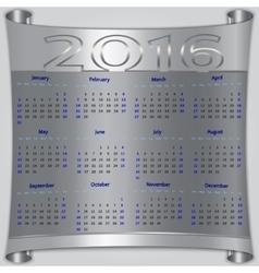 Calendar for 2016 year silver metallic vector