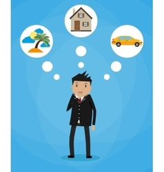 Cartoon businessman dreaming vector