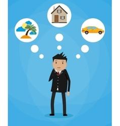 Cartoon businessman dreaming vector image