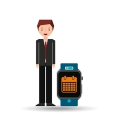 Cartoon man smart watch and calendar vector