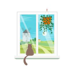cartoon windows windmill view vector image vector image