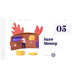 cash and savings website landing page people put vector image