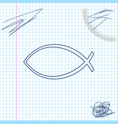christian fish symbol line sketch icon isolated on vector image