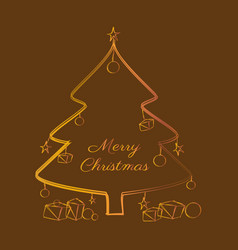 christmas tree with message merry christmas vector image