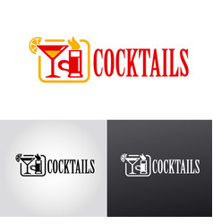 cocktails bar logo vector image