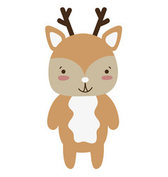 Colorful cute and happy deer wild animal vector
