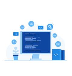 computer screen with program code vector image