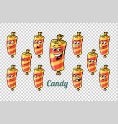 Confectionery sweet candy in wrapper emotions vector