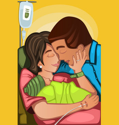 couple having a newborn baby vector image
