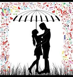 couple piano Kissing couple heart rain vector image