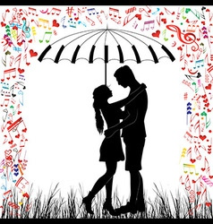 couple piano kissing heart rain vector image