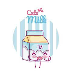 Cute milk box kawaii cartoon vector