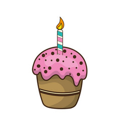 delicious cupcake with candle to happy birthday vector image