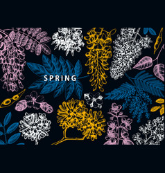 design with spring trees in flowers hand d vector image