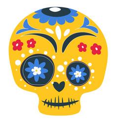 dia de los muertos painted skull with ornaments vector image