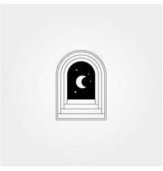 Door hallway logo design with night view symbol vector