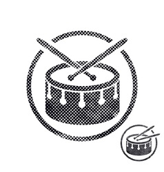 Drum snare icon with halftone dots print texture vector