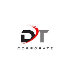 dt modern letter logo design with swoosh vector image