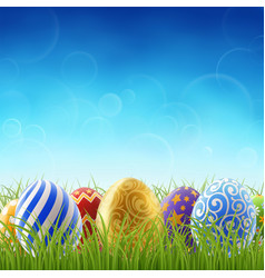 easter background with and grass vector image