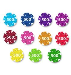 Eleven poker chips vector