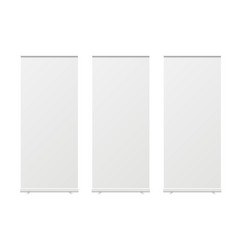 Empty roll up banners isolated white background vector