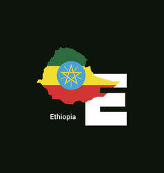 Ethiopia initial letter country with map and flag vector