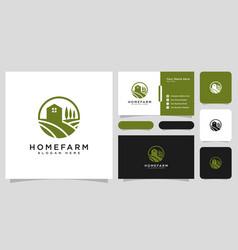 farm house logo design and business card vector image