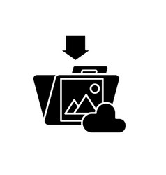 file upload black icon sign on isolated vector image