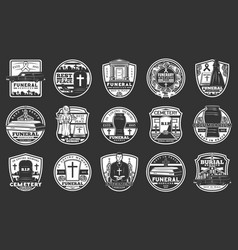 Funeral service agency columbarium tomb icons vector