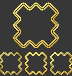 Golden line abstract logo design set vector