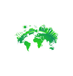 Green city concept solar and wind power green vector