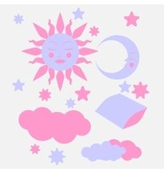 Hand Drawn flat sleeping elements vector